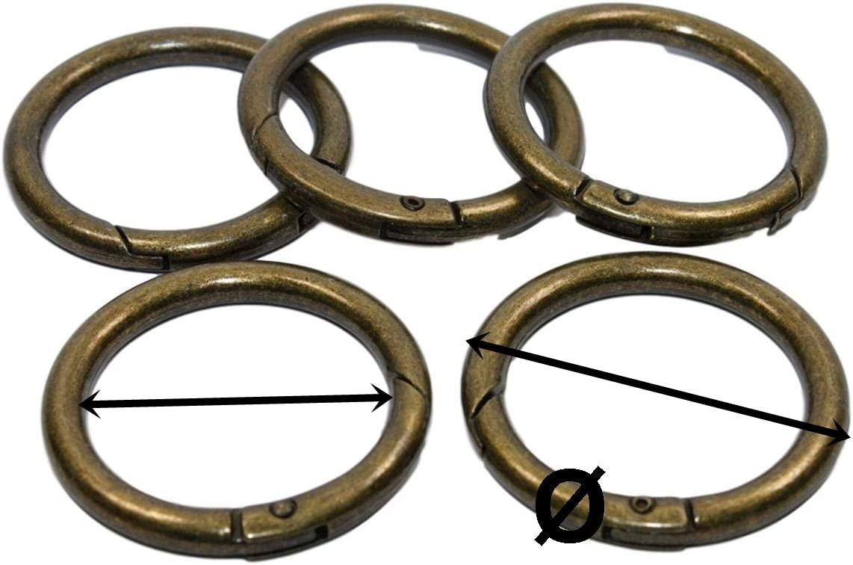 altmessing Nicht magnetisches Metal 5x Runde Karabinerhaken innen 32mm