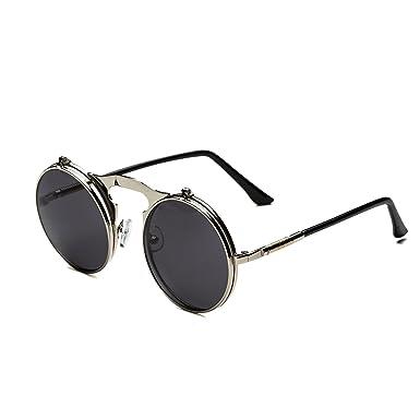 0d1edcd16b Dollger Lennon Flip up clip on Round Sunglasses(Black Lens+Silver Frame)   Amazon.co.uk  Clothing