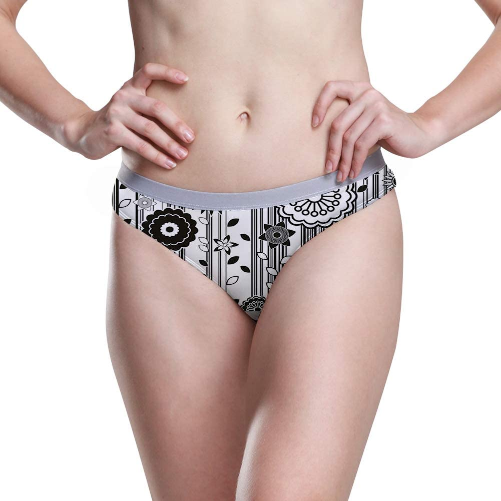 Womens Hipster Panties Monochrome Funky Blossoms Abstract Pattern Vertical Lines and Leaves,5 Size