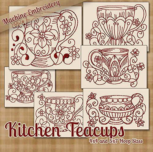 Redwork Kitchen - Kitchen Teacups Redwork Machine Embroidery Designs on CD