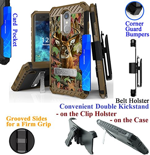 for 5'' LG Rebel 3 ZONE 4 K8 2018 Case Phone Case Belt Clip Holster 2 Kickstand Card Slot Corner Guard Bumper Firm Grip Hybrid Armor Cover (Camo Deer) by 6goodeals