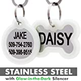 GoTags Personalized Dog Tags in Stainless Steel, Includes Glow in The Dark Tag Silencer to Reduce Noise and Protect Tag and Engraving, No Noise, Quiet Pet Tags, Front and Backside Engraving