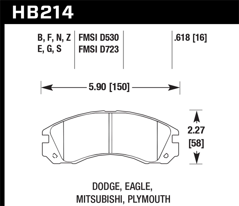 Hawk Performance HB214F.618 HPS Performance Ceramic Brake Pad