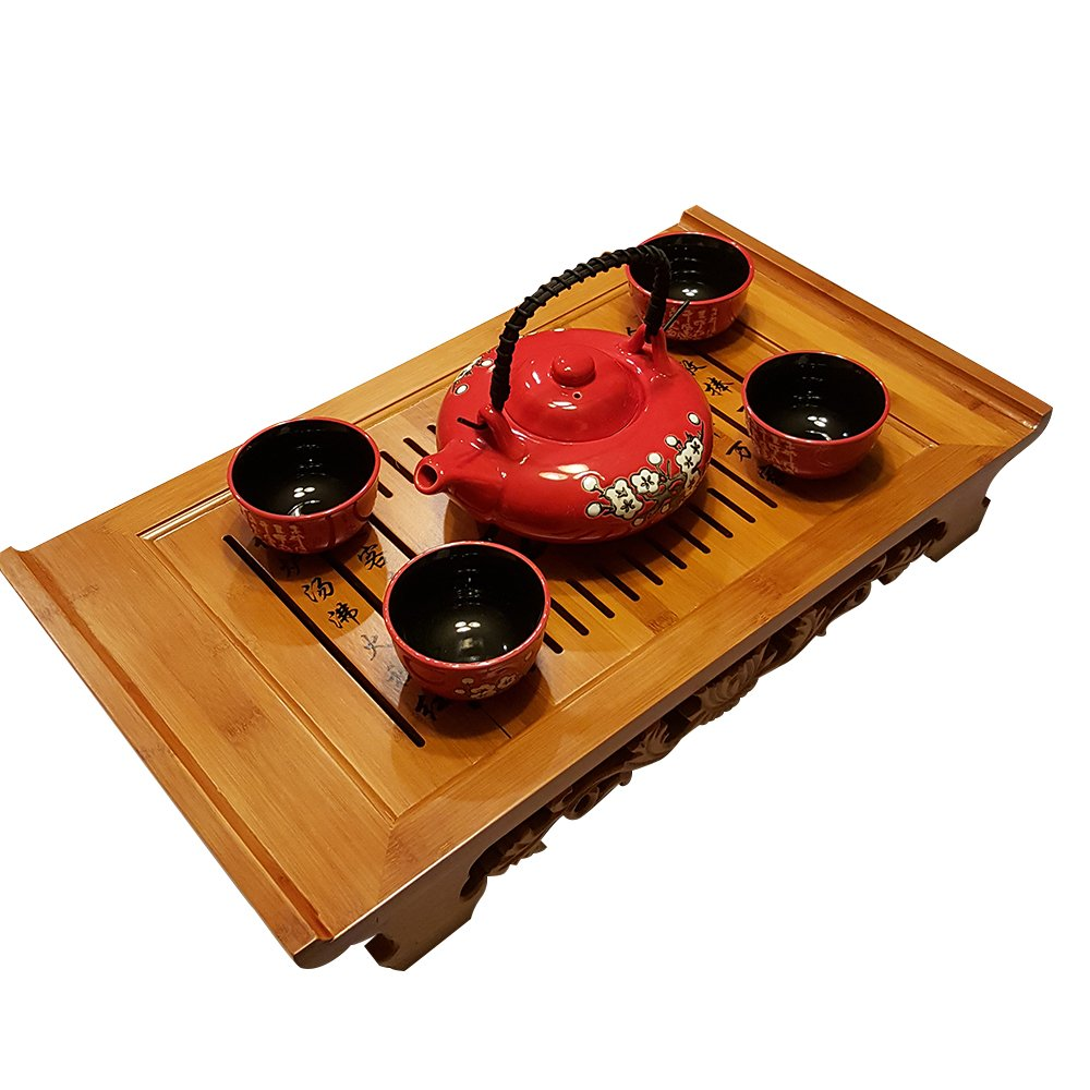 Bamboo GongFu Tea Serving Tray L21'' x W12'' x H2.75'' by THY COLLECTIBLES (Image #3)
