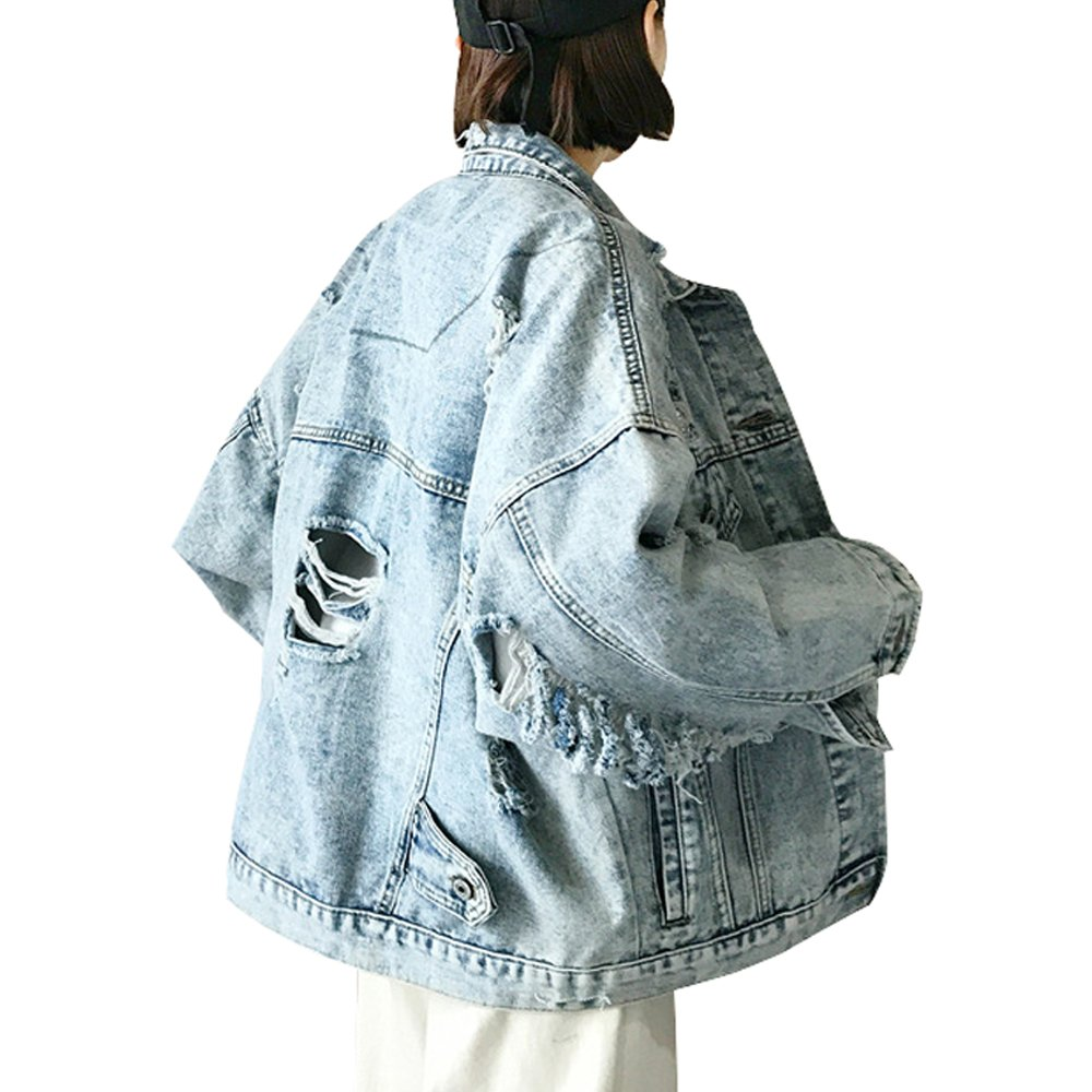 Jean Denim Boyfriend Jackets, Long-Sleeve Distressed Ripped Style for Women, One Size, Blue Washed