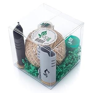 Hemplights Hemp Wick Lighter Gift Box 2 Pack Wrapper, Includes Hemp Wick USA (Black/Grey)