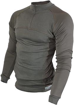 Raptor Hunting Solutions Lana de Merino Thermal Ropa Interior Base Layer Manga Larga Cuello de Camisa Caza Cremallera Camiseta Verde