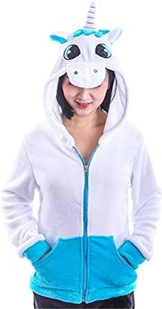 Cute Unicorn Flannel Jacket Sweater Hoodie Warm Coat Cartoon For Women Girls