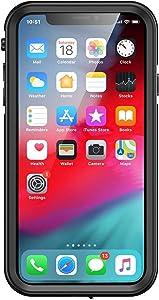 aquaLife iPhone XR Slim Waterproof Shock & Drop Proof, Dirt & Snow Proof Underwater Swimming Diving Beach Case - Fully Sealed w/Built-in Screen Protector & Clear Back (Black)