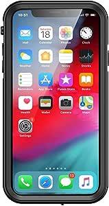 iPhone X/XS, aquaLife Slim Waterproof, Shock & Drop Proof, Dirt & Snow Proof Underwater Swimming Diving Beach Case - Fully Sealed w/Built-in Screen Protector & Clear Back (Black)