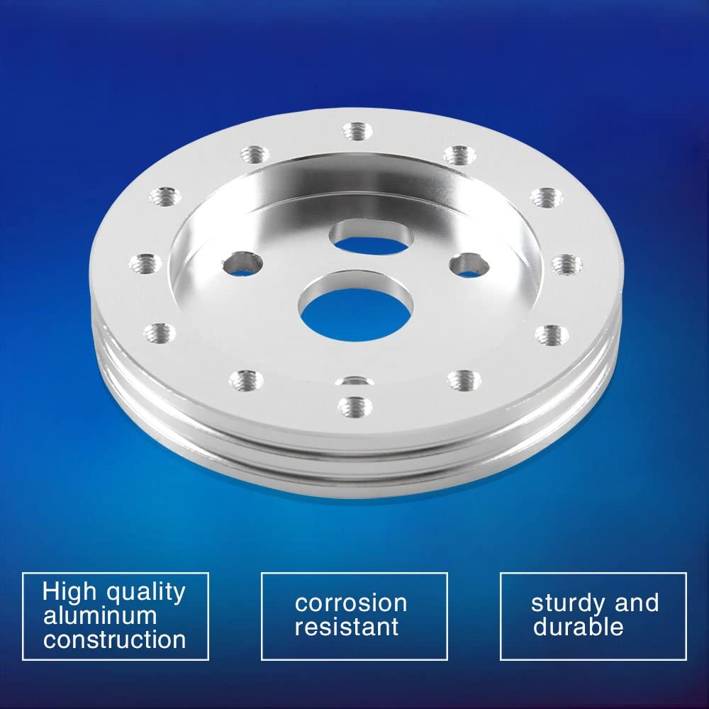 RASNONE Steering Wheel Hub Adapter Conversion Spacer 0.5 Inch 6 Hole to 3 Hole Steering Wheel Adapter Grant Adapter Boss Kit Silver
