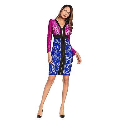Kleid der Frau Frauen Kleid Spitze Paket Hüften Spleiß Reißverschluss  Perspektive Hohl Langarm Brautjungfer Abendkleid Mode 4827bc8479