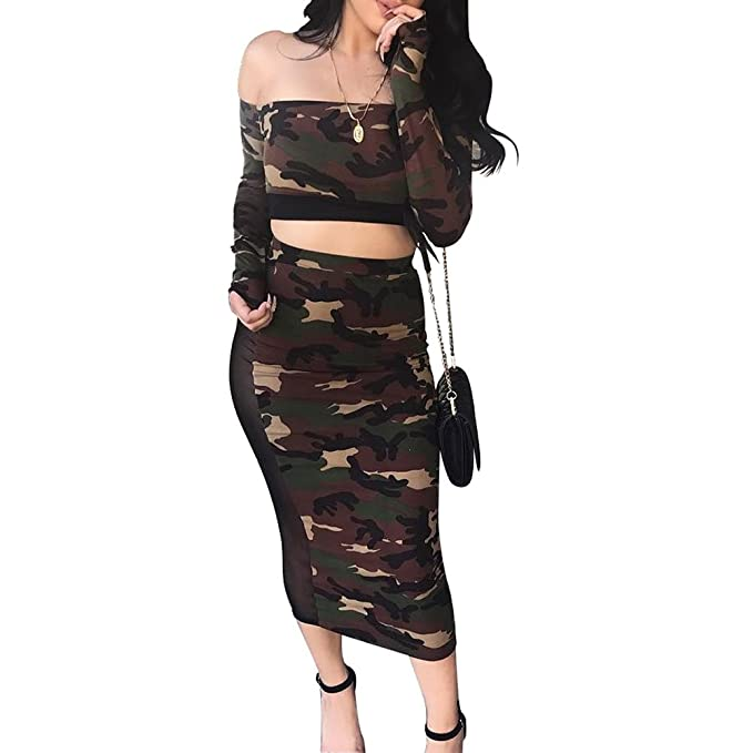 d4815407884 Enggras Women's Camouflage Print Two Piece Outfits Long Sleeve Crop Top and High  Waist Midi Skirt Set at Amazon Women's Clothing store: