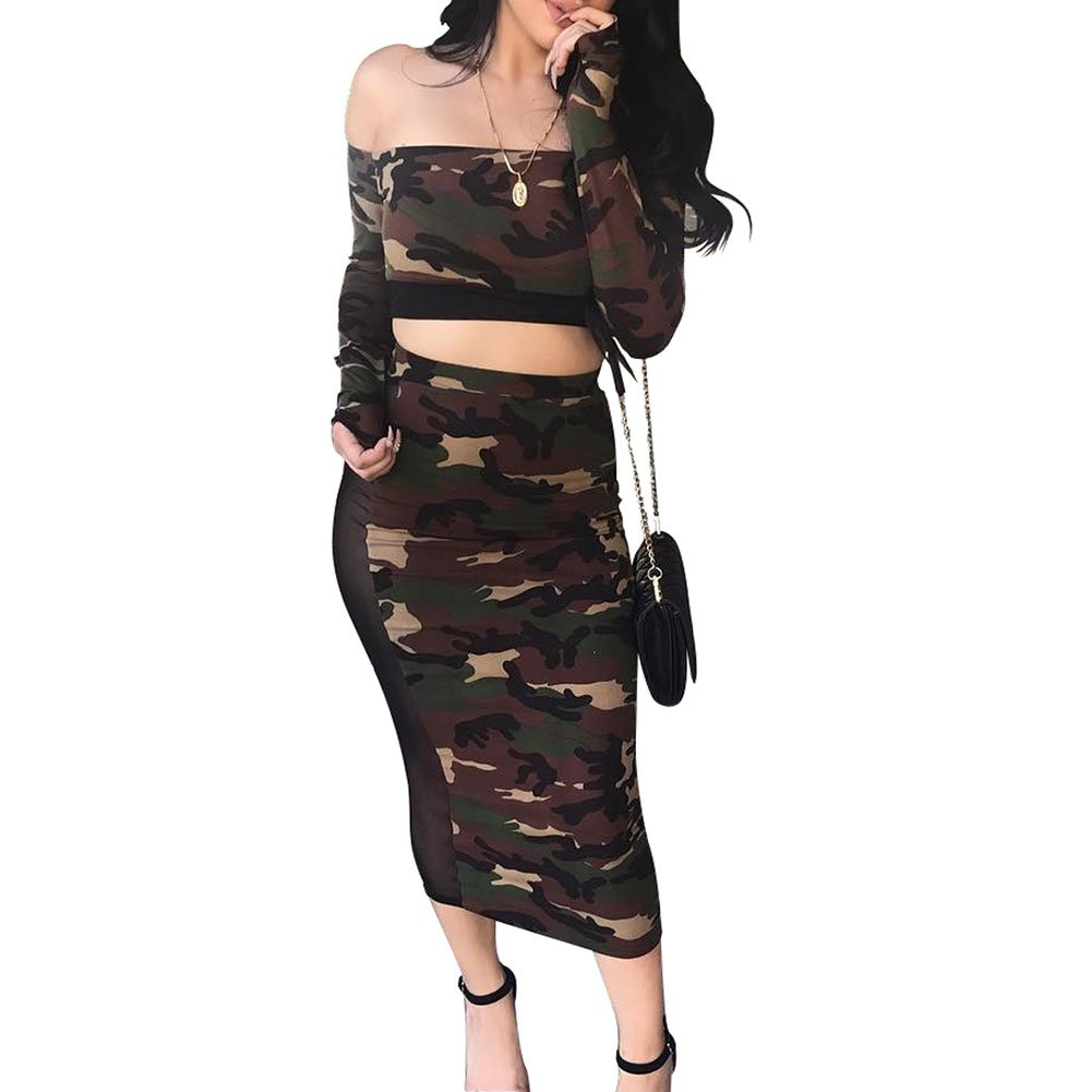 LaCouleur Women's Two Piece Outfits Camouflage Print Long Sleev Crop Top and High Waist Midi Skirt Set Green XL