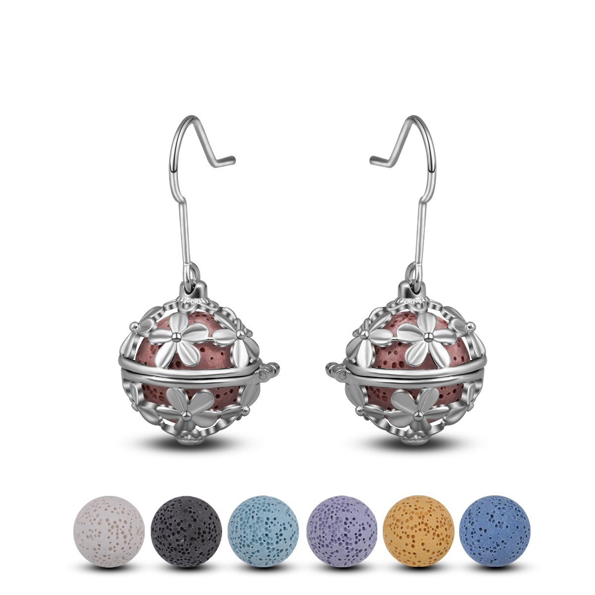 INFUSEU Dangling Earrings Daisy Drop for Women Aromatherapy Essential Oil Diffuser Locket Jewelry + 14 PCS Lava Stone Rock Beads (Silver)