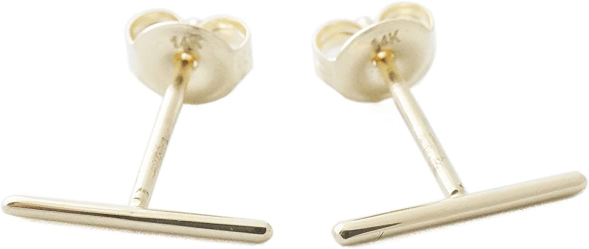 or Silver Delicate Jewelry HONEYCAT Flat Drop Bar Stud Earrings in Gold Rose Gold Minimalist