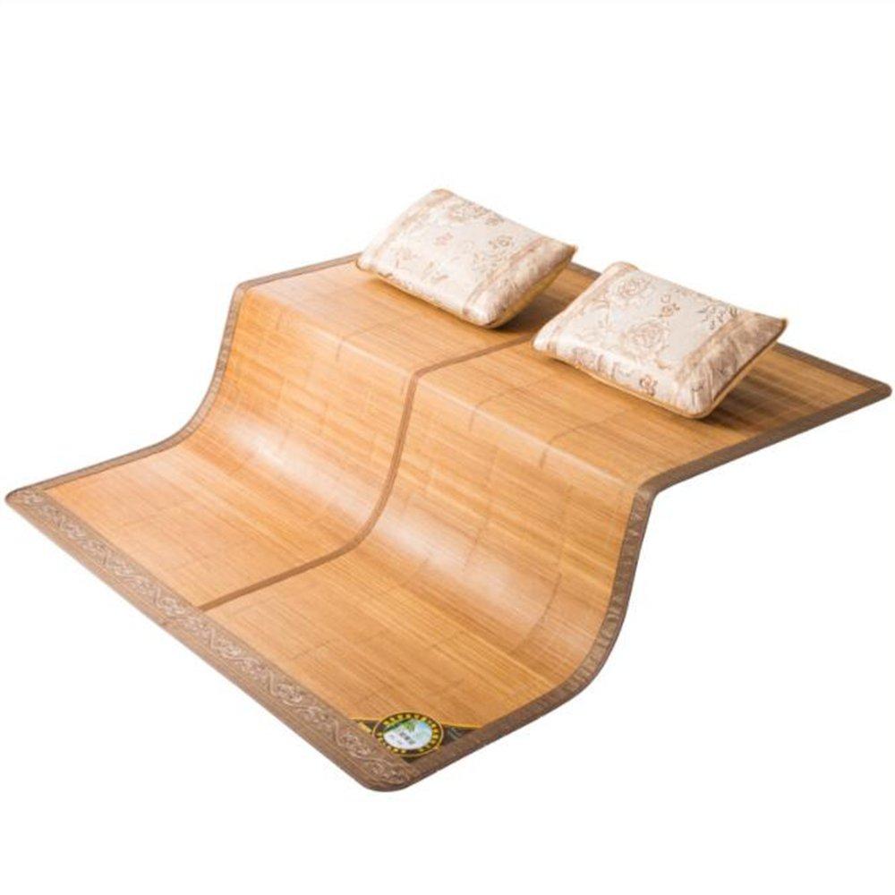 Zzaini Double-sided Mat, Folding Double Bed Topper Pad Rattan Summer Sleeping Mat Mattress-A 1.5x1.95m
