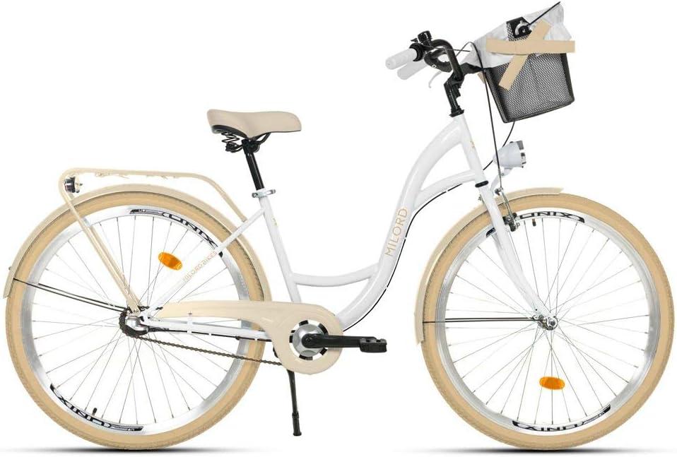 Bici de Paseo Milord Urbana C/ómoda Bicicleta de Ciudad con una Canasta 28 3 Velocidad