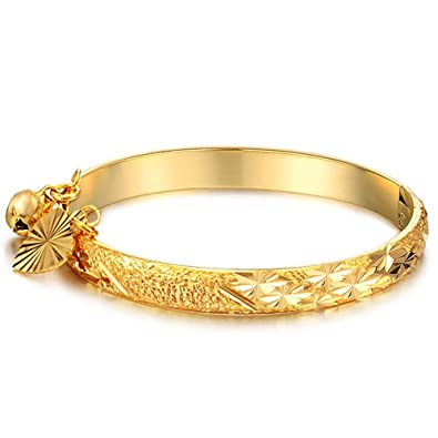 f272bb90fee41 Fate Love Jewellery Children s 18K Gold Plated Cuff Bracelets Bangle with  Heart and Bell Pendant