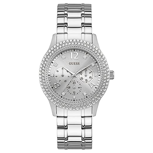 2d1c03648 Guess Womens Analogue Quartz Watch with Stainless Steel Strap W1097L1:  Amazon.co.uk: Watches