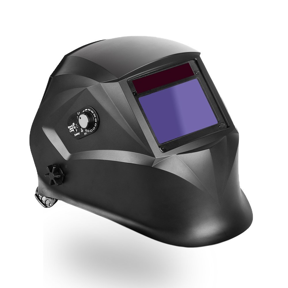 LEANINGTECH ATX03 Solar Power Auto Darkening Welding Helmet, Adjustable Headband, Large View Area, Wide Shade Range DIN 4-8/9-13, Face Protector for Arc Tig Mig Grinding Plasma Cutting