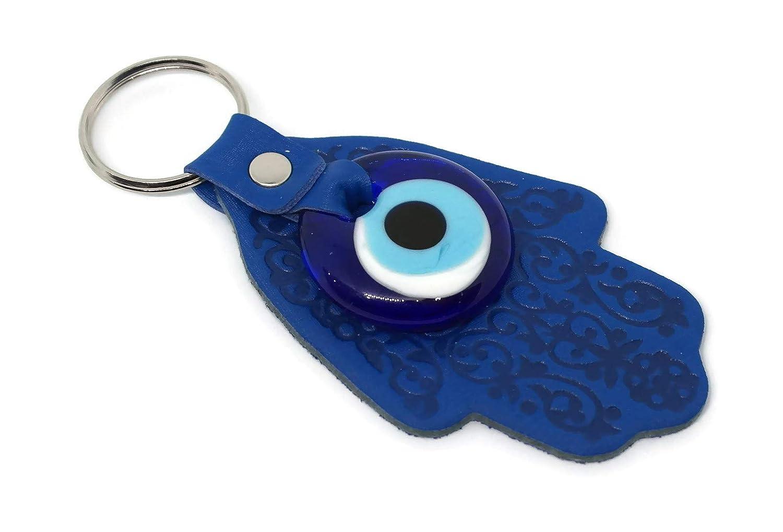 para buene Suerte y Mal de Ojo Azul Tama/ño 12 X 5 cm Mystic Jewels by Dalia Llavero Ojo Turco en Forma de Hamsa y en Cristal y Cuero