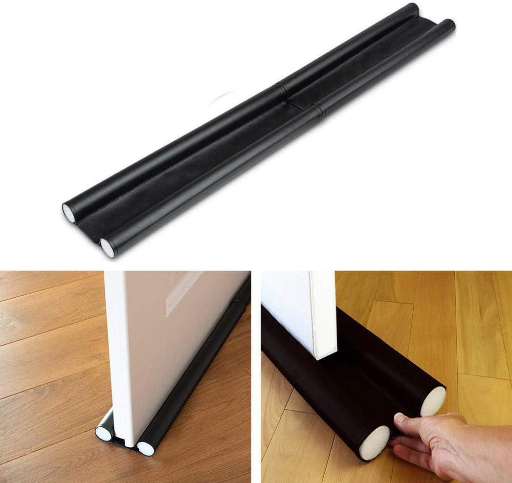Under Door Draft Stopper,Adjustable Double Draft Noise Blocker Sweep for Sound Dust Proof,Door Insulator with Hook and Loop Self Adhesive Tape Seal,for Bottom of Door Weather Stripping