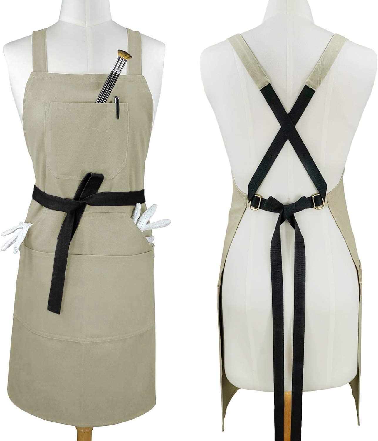 Sturdy Thick Professional Artist Apron, Cross Back + Fasten/Quick Release Buckle + 6 Pockets with 1 Zipper Pocket + 2 Towel Loops For Artist Kitchen, Adjustable M to XXL, 27