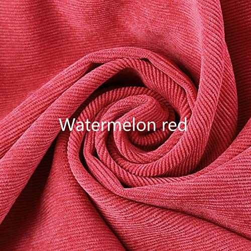 FidgetGearRetro Corduroy Fabric Striped Craft Upholstery Shirt Pants Curtain Cushion Cloth Watermelon red