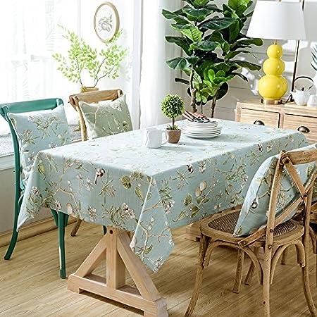 120 * 160 cm árbol de luz azul rústico Floral ins gamuza de mesa ...