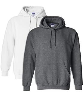 Gildan G18500 Heavy Blend Adult Unisex Hooded Sweatshirt 4XL 1 White 1 Ash
