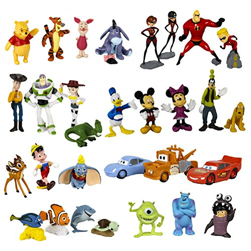 Disney Classic Characters Toy Figure Playset, 30-Piece, Including Mickey Mouse, Winnie the Pooh, Finding Nemo, Toy Story, Cars, Monsters Inc, Bambi, Dumbo, Pinocchio and The Incredibles