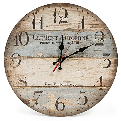 LOHAS Home 12 Inch Silent Vintage Wooden Round Wall Clock Arabic Numerals Vintage Rustic Chic Style Wooden Round Home Decor Wall Clock (Victor Hugo) (Home Clock)