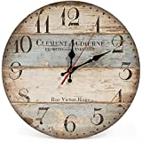 LOHAS Home 12 Inch Silent Vintage Design Wooden Round Wall Clock, Arabic Numerals,Vintage Rustic Shabby Chic Style,Blue and Brown Multi Bars,Wooden Round Home Decoration Wall Clock(Victor Hugo)