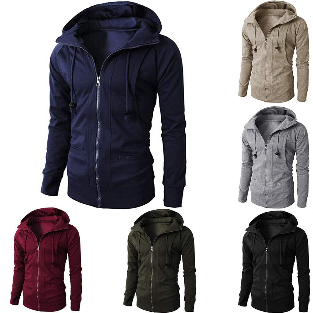 Mens Winter Long Sleeve Sport Zipper Hoodie Fashion Tops Men Jackets,Dartphew