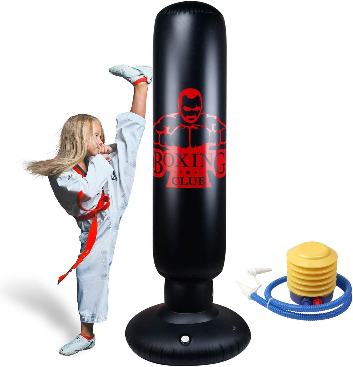 Locsee Punching Bag for Kids, PVC Thickening Inflatable Fitness Freestanding Boxing Bag for Kids Adults Tumbler Fighting Column Decompression Vent Toy Training Kickboxing Equipment(63 inch) : Sports & Outdoors