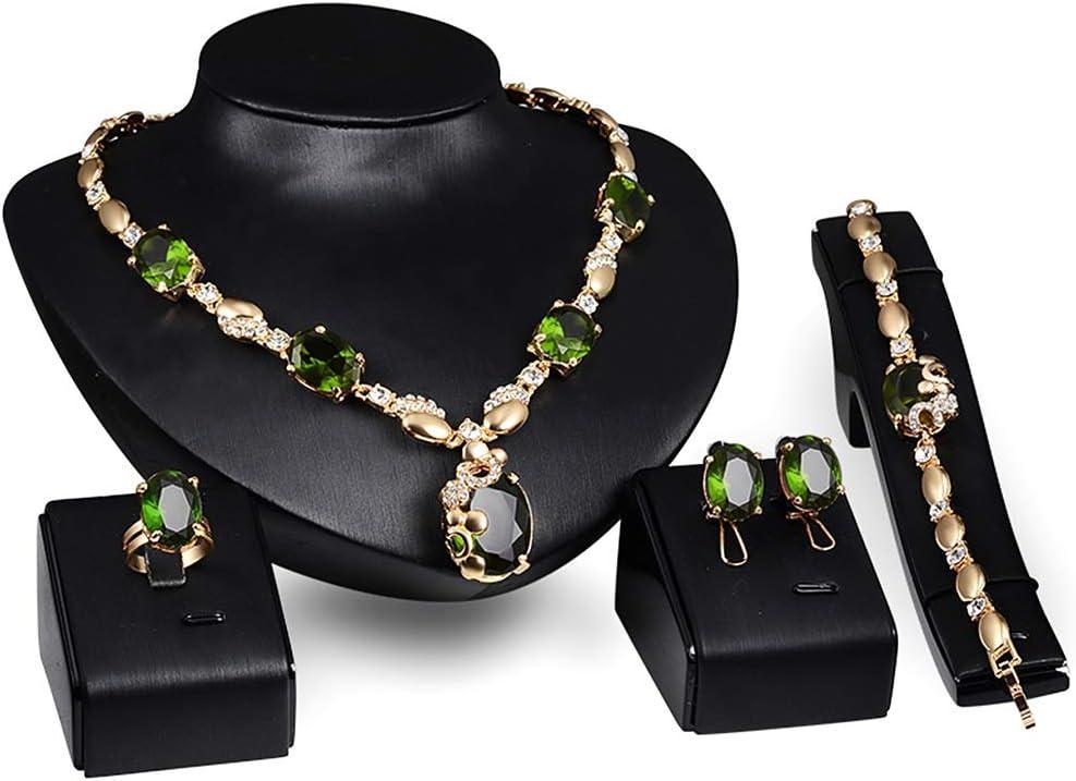 SimpleLife Conjunto de Joyas Faux Verde Colgante de Piedras Preciosas Pendientes Collar Pulsera Anillo Conjunto de Boda Nupcial