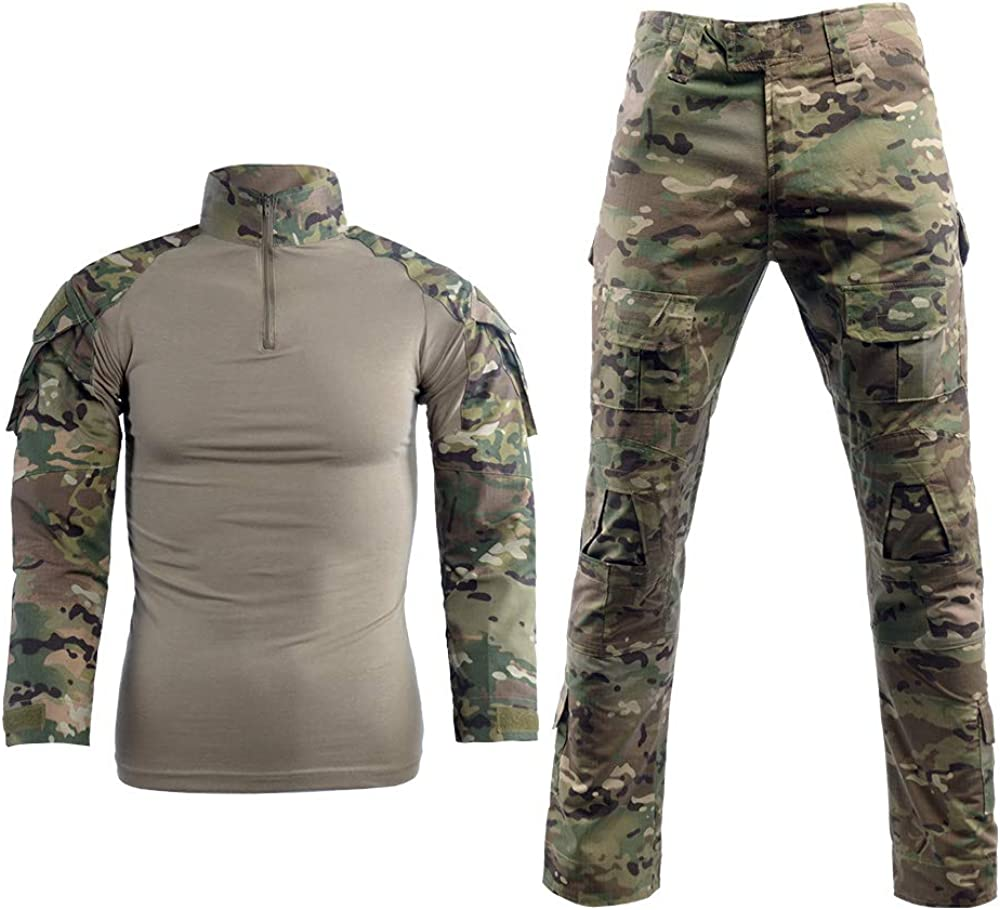 LANBAOSI Men's Tactical Combat Shirt and Pants Set Long Sleeve Multicam Woodland BDU Hunting Military Uniform 1/4 Zip: Clothing