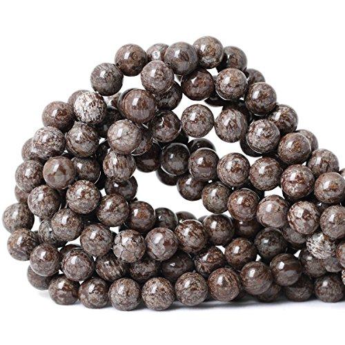 Qiwan 35PCS 10mm Brown Snowflake Jasper Gemstone Smooth Round stone Loose Beads For Jewelry Making,1 Strand (Snowflake Jasper)