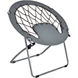 Giantex Folding Bunjo Bungee Chair Outdoor Camping Gaming Hiking Garden Patio Round Web Portable Steel Bungee Dish Chairs for Adults Kids, Gray