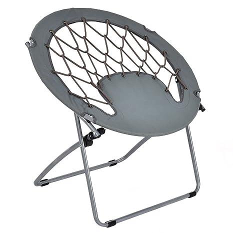 Giantex Folding Bunjo Bungee Chair Outdoor Camping Gaming Hiking Garden  Patio Round Web Portable Steel Bungee
