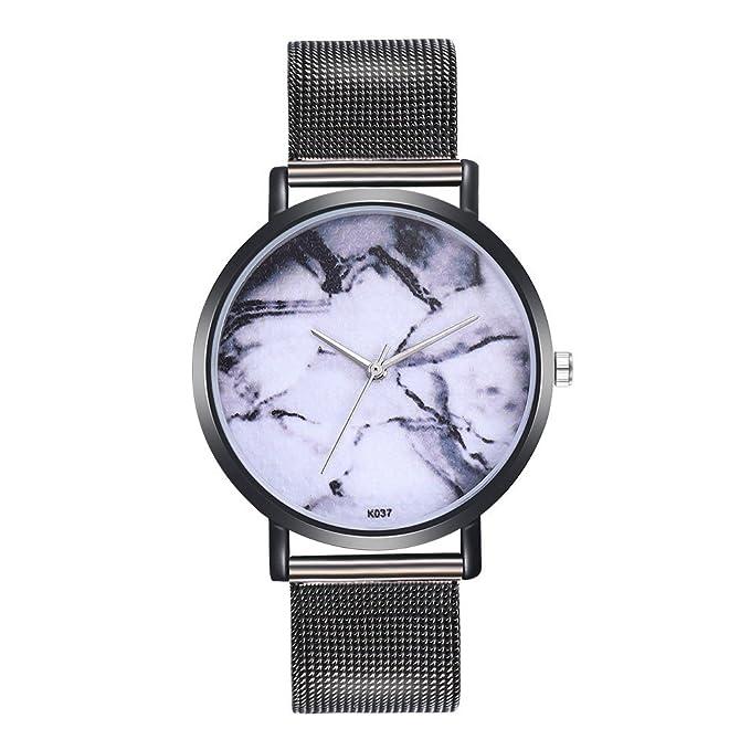 DressLksnf Reloj Lujo Moda de Mujer Pulsera de Acero Inoxidable Plano Patrón de Mármol Durable Correa de Malla Digital Clásico Banda de Reloj Colorado ...