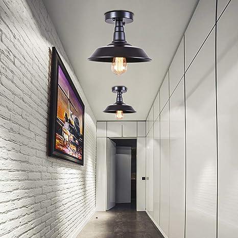 OYI Vintage Deckenleuchte, Industrial Deckenlampe Innen Licht Metall  Schwarz für Wohnzimmer Esszimmer Bar Cafeteria