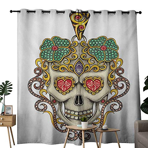 Sliders Yellow Pendant - NUOMANAN Curtains Day of The Dead,Sugar Skull with Heart Pendants Floral Colorful Design Print,White Ivory and Yellow,Thermal Insulated Panels Home Décor Window Draperies for Bedroom 52