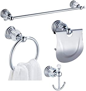 WINCASE Crystal Towel Bar-24 Inch Set, Chrome Bathroom Hardware Set, Silver 4-Piece Accessories Wall Mounted Coat Hook Hand Towel Ring Paper Holder