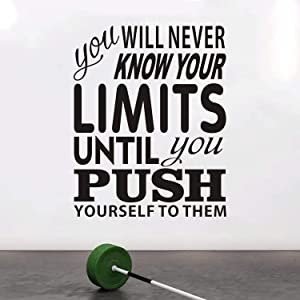 """VODOE Quotes Wall Decal, Office Wall Decal, Workout Fitness Sport Classroom School Exercise Teen Motivational Gym Inspirational Home Art Decor Vinyl Stickers You Will Never Know Your Limits 21""""x26.2"""""""