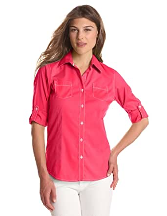 Foxcroft Women's Solid Free Fit Roll Tab Blouse, Tropical Pink, 6