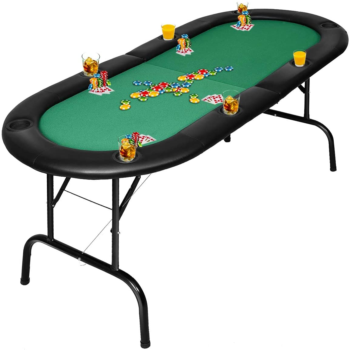 Giantex Folding Play Poker Table w Cup Holder