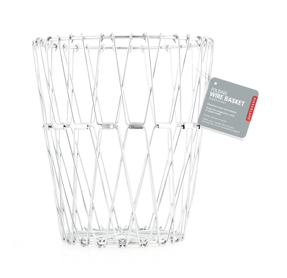 Kikkerland Small Galvanized Stainless Steel Folding Wire Basket, Silver BW02
