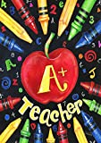 Toland Home Garden Back to School Teacher 28 x 40 inch Decorative Fall Autumn Back to School Teacher Apple House Flag